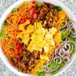 Large bowl of dinner taco salad