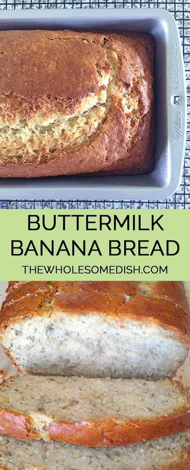 Buttermilk Banana Bread - This is the best banana bread recipe ever! This is an easy recipe and the bread is so moist and delicious. #buttermilk #banana #bread #bananabread #breakfast #brunch #snack #baking #recipe #bananas