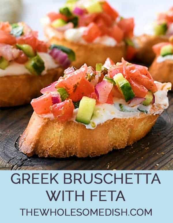 Greek Bruschetta recipe with toasted bread, creamy feta spread, and Greek vinaigrette seasoned veggies