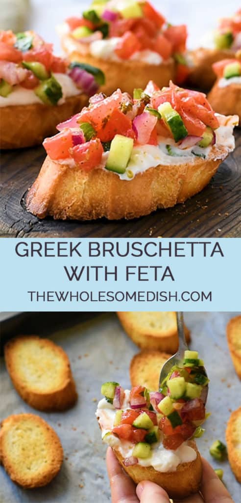 2 image collage with text showing greek bruschetta with feta recipe