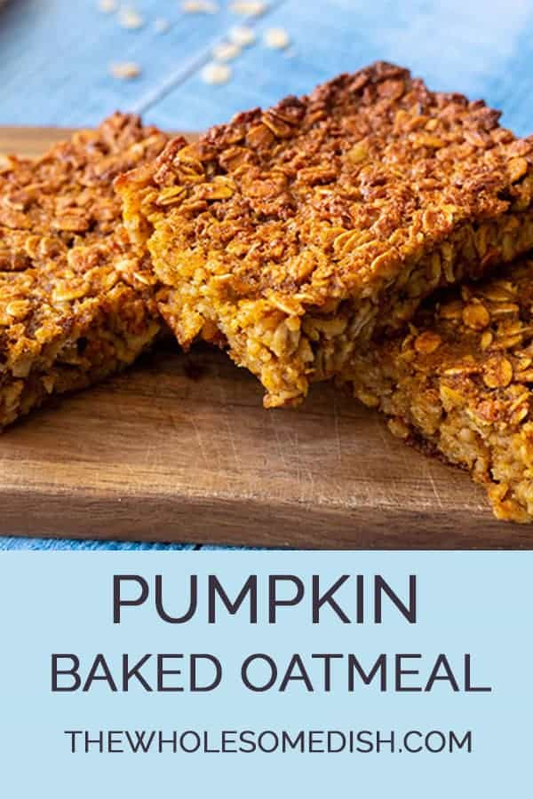 Healthy pumpkin baked oatmeal - 3 pieces cut on a board