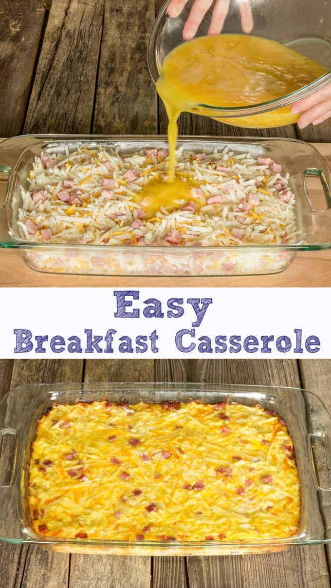 Eggs being poured over frozen hash browns, cheddar cheese, and ham for Easy Breakfast Casserole