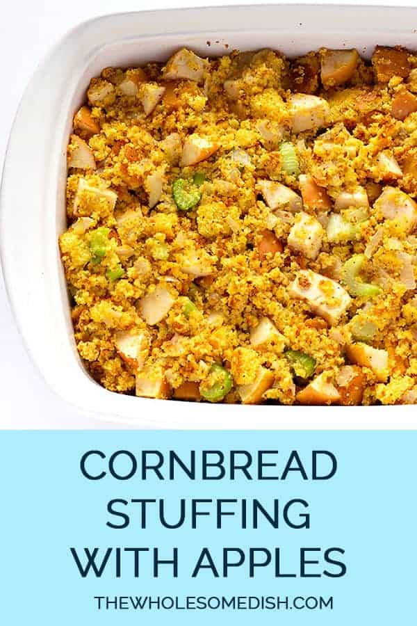Cornbread Stuffing with apples in a casserole dish