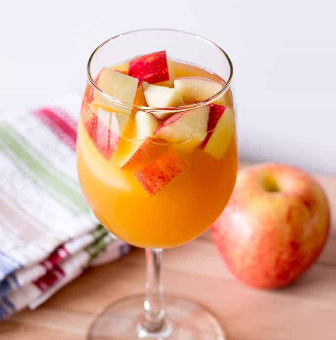 Glass of apple cider sangria