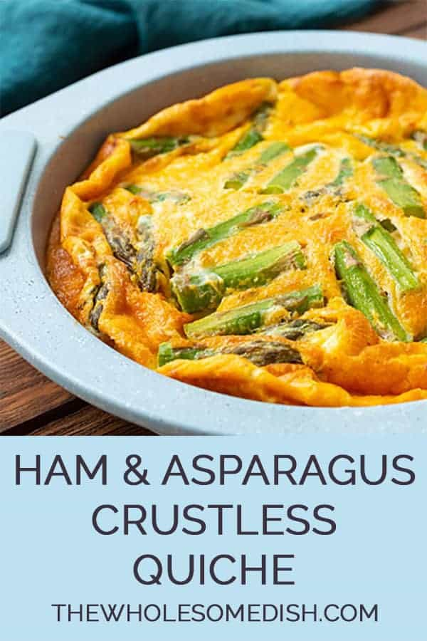 Ham & cheese quiche with asparagus in a pie plate
