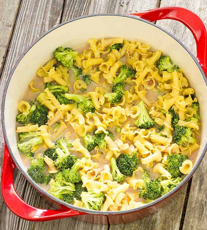 Uncooked ingredients in a pot for 1 pot pasta con broccoli