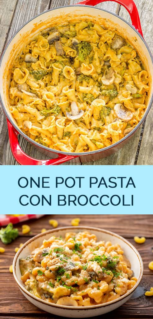 2 image collage with text showing pasta con broccoli