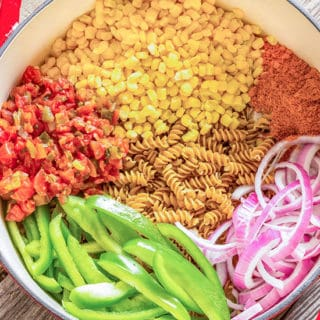 one pot southwest pasta recipe ingredients in a large pot