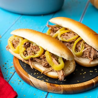Slow Cooker Italian Beef Sandwiches on a plate