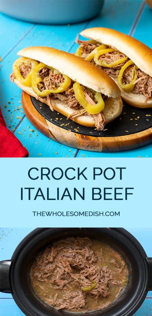 Spicy Crock Pot Italian Beef Sandwich 2 image Pinterest Collage