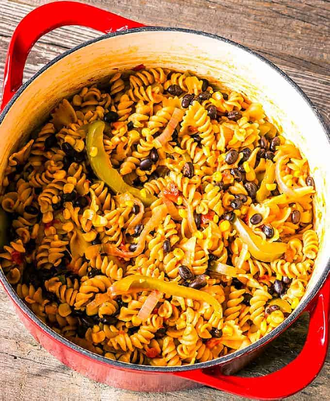 1 pot southwest pasta recipe in a large pot