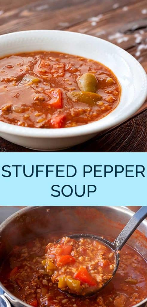 Stuffed pepper soup recipe pinterest collage