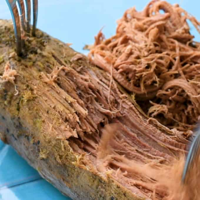 Shredding the beef for the best Italian Beef recipe