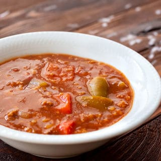 Bowl of the best stuffed pepper soup