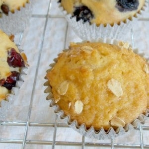honey oat muffin on a cooling rack