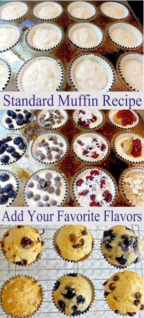 Basic Muffin Recipe 3 image collage with text showing uncooked and cooked muffins in a muffin tin