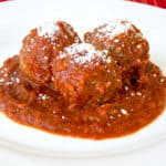 Crock Pot Meatballs with pasta sauce on a plate
