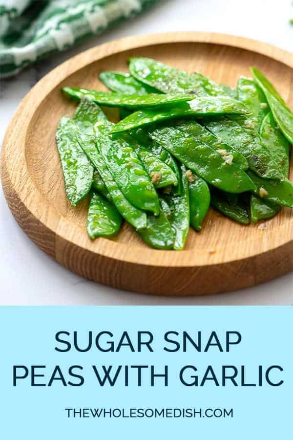 Sugar Snap Peas with Garlic on a serving plate
