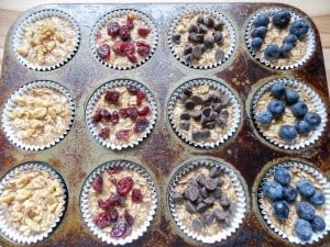 unbaked To-Go Baked Oatmeal with Your Favorite Toppings in a muffin tin