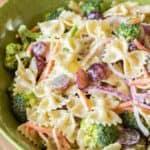 broccoli grape pasta salad in a green bowl