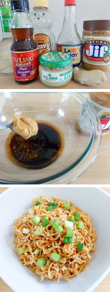 3 image collage showing making Sesame Peanut Butter Noodles