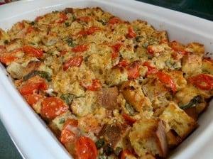 ظرف پخت پودینگ نان ریحان گوجه فرنگی