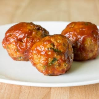 3 Honey BBQ Chicken Meatballs on a white plate