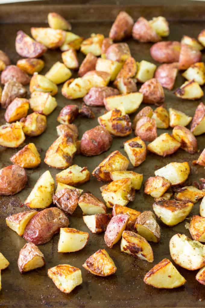 Salt & Vinegar Roasted Potatoes on a baking sheet