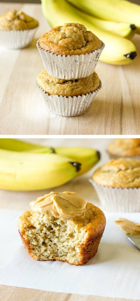 2 image collage of cooked Banana Peanut Butter Oat Muffins