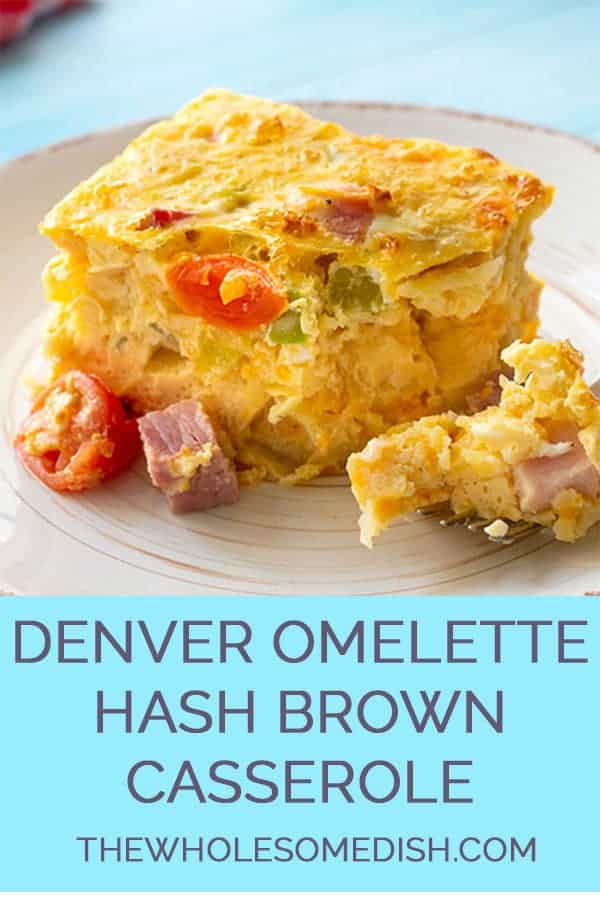 Slice of Denver Omelette Hashbrown casserole on a plate