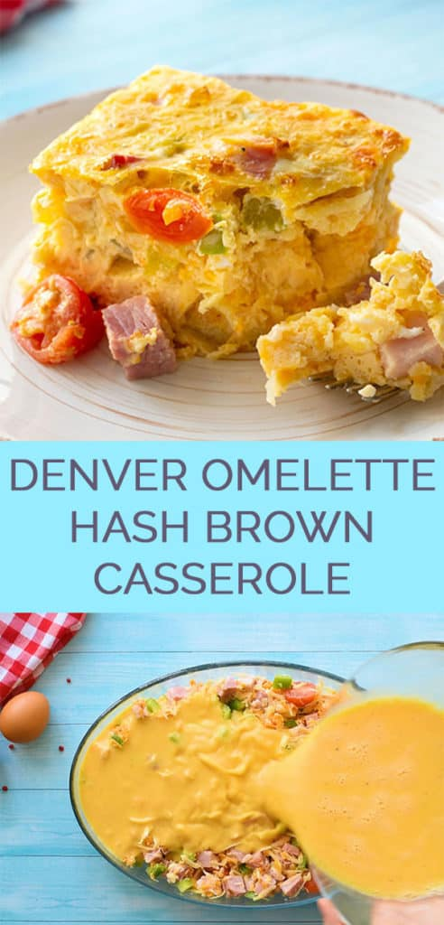 Ham and cheese breakfast casserole with veggies Pinterest Collage