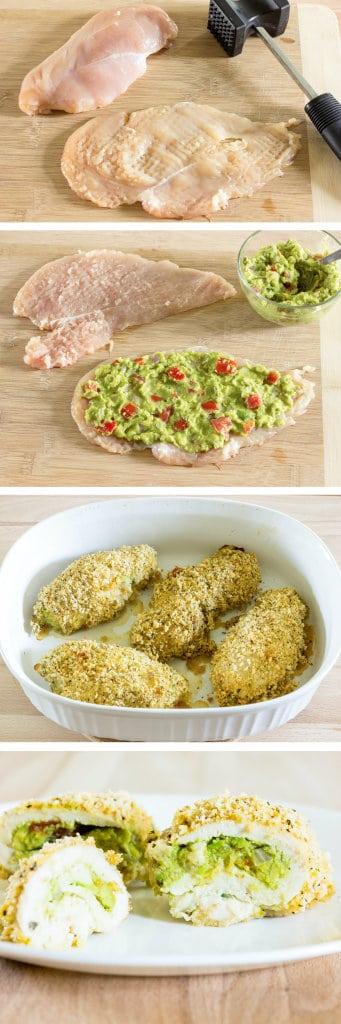 4 image collage showing making Guacamole Stuffed Chicken Breast