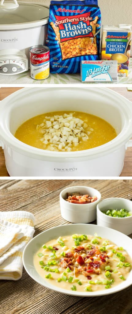 3 image collage showing making Skinny Crock Pot Loaded Potato Soup