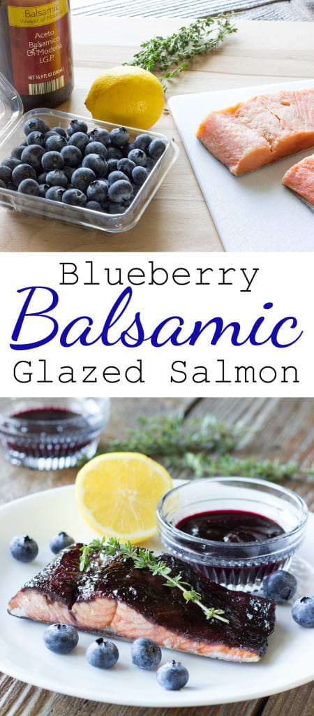 2 image collage with text showing Blueberry Balsamic Glazed Salmon