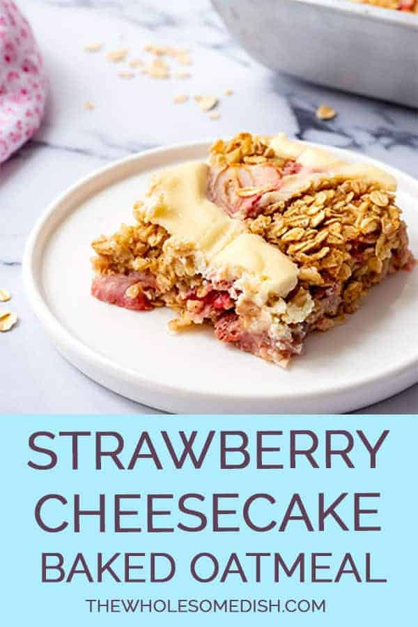 Slice of Strawberry Cheesecake Baked Oats on a plate