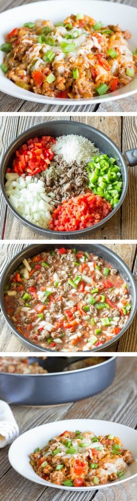 4 image collage showing making One Pot Stuffed Pepper Skillet