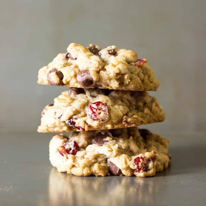 3 stacked Coconut Oil Cowboy Cookies
