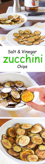 3 image collage with text showing Salt and Vinegar Zucchini Chips