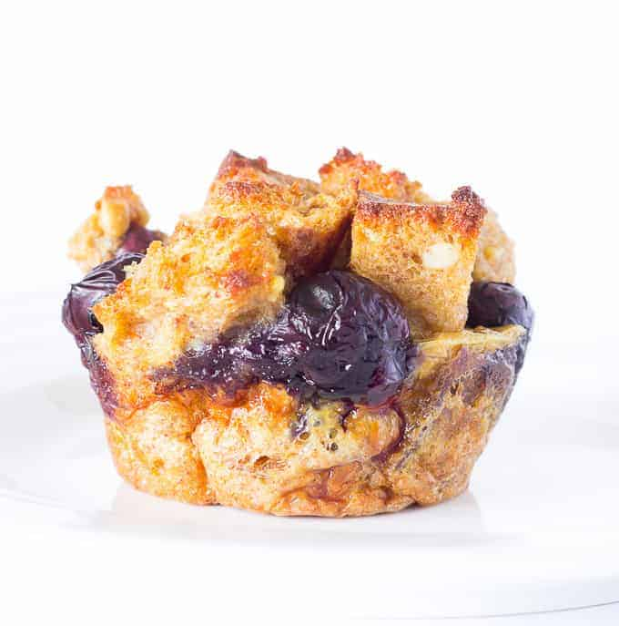 blueberry French Toast Cup on a white plate