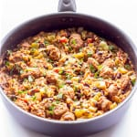skillet full of One Pot Wonder Spanish Rice with Chorizo