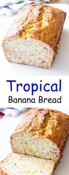 2 image collage with text showing Tropical Banana Bread