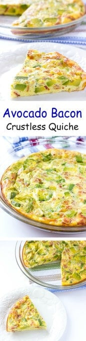 3 image collage with text showing Avocado Bacon Crustless Quiche