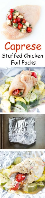 4 image collage with text showing making Caprese Stuffed Chicken Foil Packs