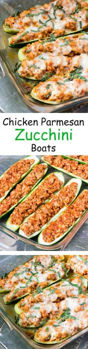3 image collage with text showing making Chicken Parmesan Zucchini Boats