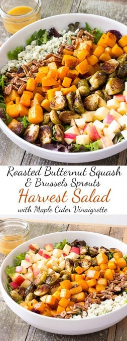 2 image collage with text showing Roasted Butternut Squash & Brussels Sprouts Harvest Salad with Maple Cider Vinaigrette