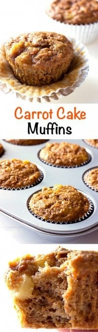 3 image collage with text showing Carrot Cake Muffins