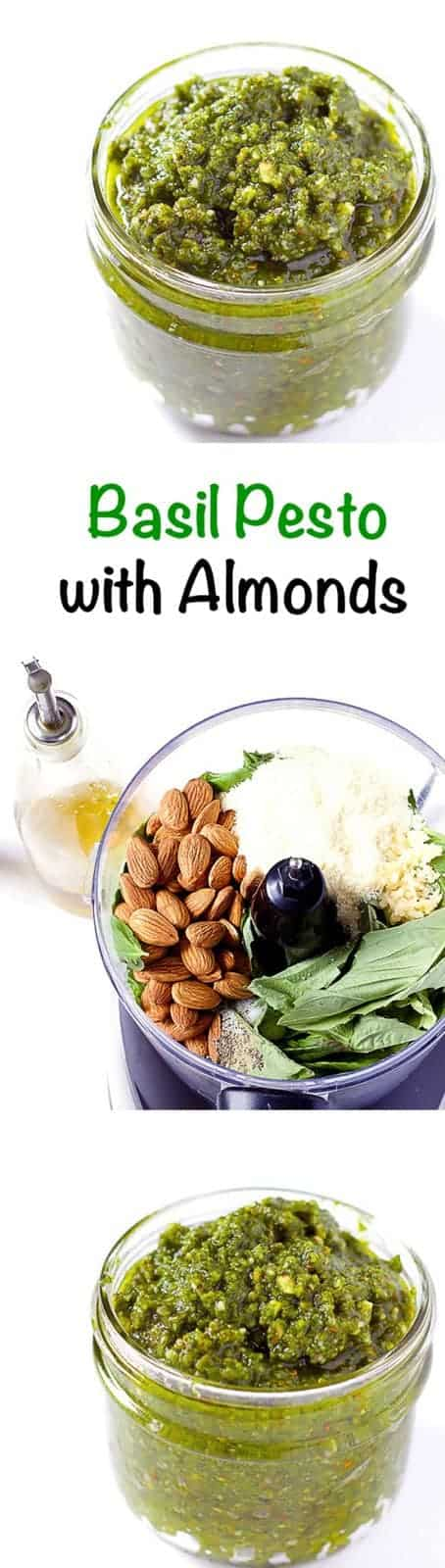 3 image collage with text showing Basil Pesto with Almonds