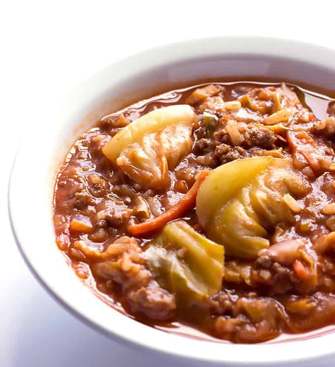 white bowl full of Unstuffed Cabbage Roll Soup
