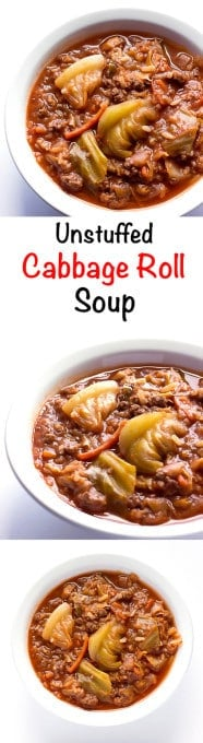 3 image collage with text showing Unstuffed Cabbage Roll Soup