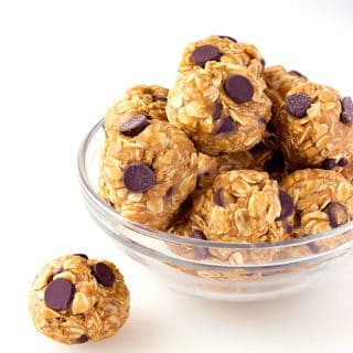 bowl full of peanut butter oat balls with chocolate chips